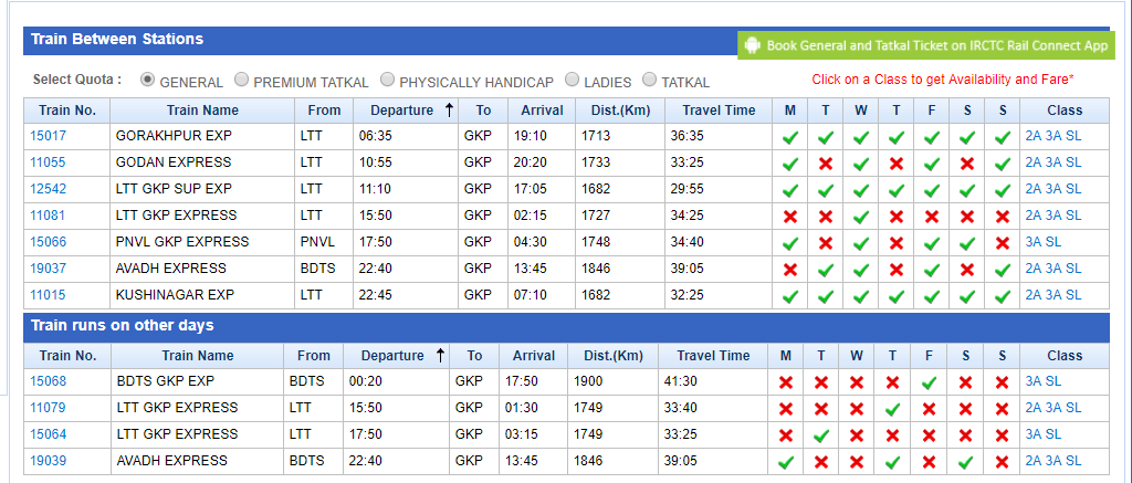 irctc train timings and seat availability